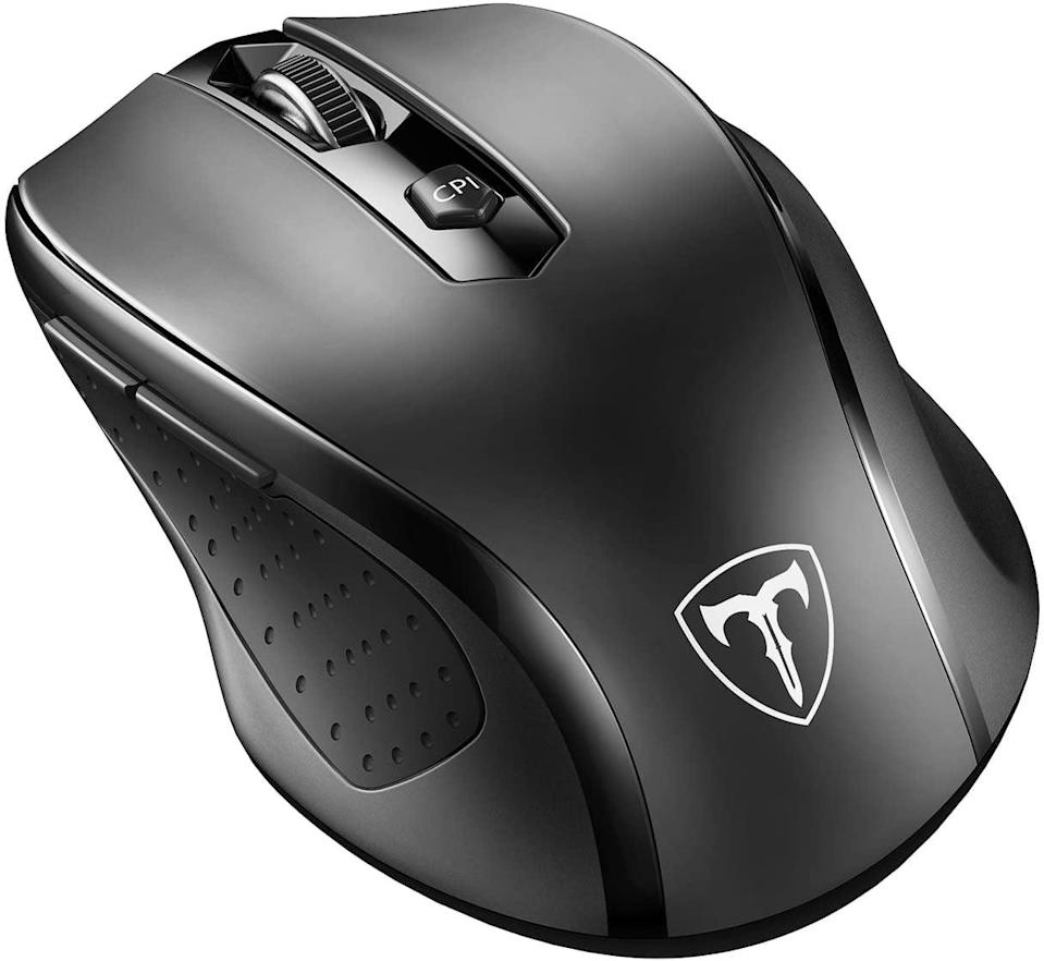 <p>Once you've got a monitor, or if you're just tired of the laptop trackpad, order this <span>VicTsing 2.4G Wireless Portable Mobile Mouse</span> ($11).</p>