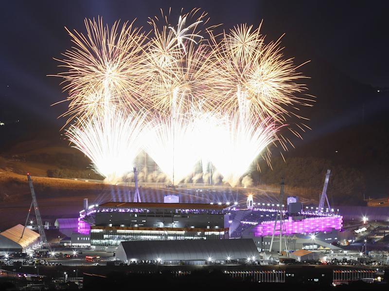 Fireworks light up the sky over the Pyeongchang Olympic Stadium during the closing ceremony: Getty