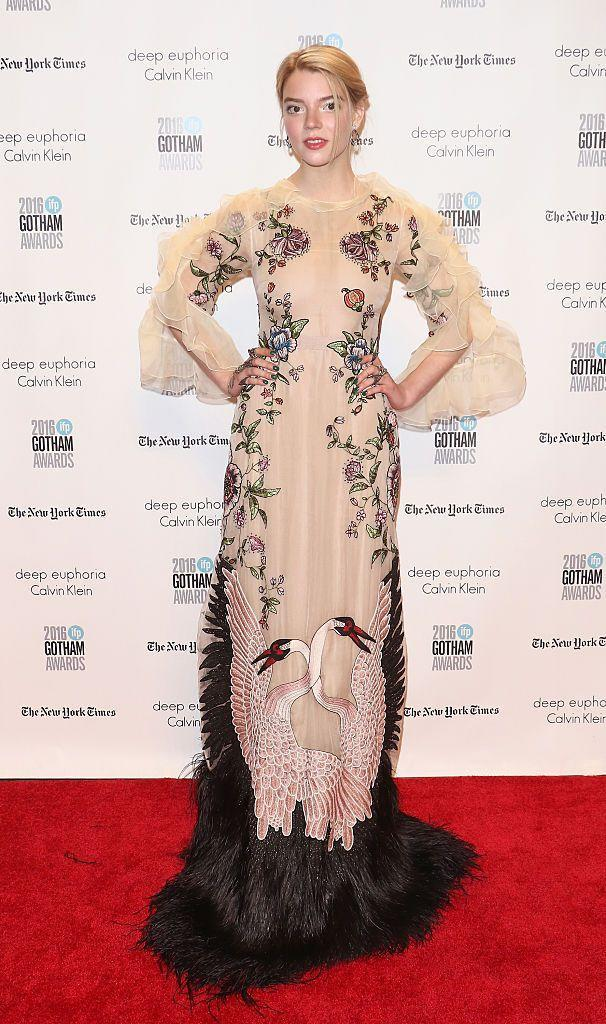 <p>The blonde wore an embroidered tulle dress by Gucci for the event. </p>