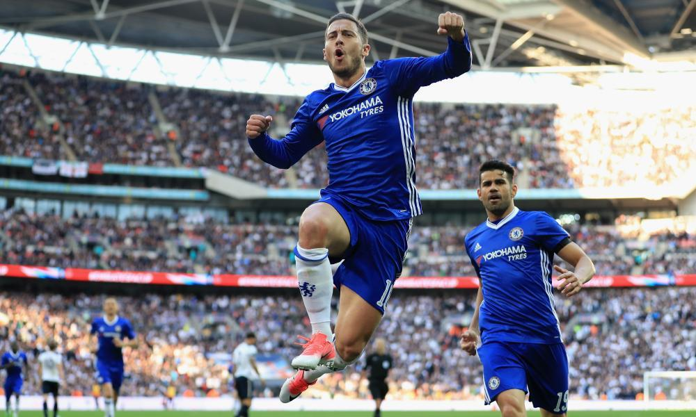 Eden Hazard, who came off the bench at Wembley, celebrates putting Chelsea 3-2 up against Tottenham during their FA Cup semi-final.