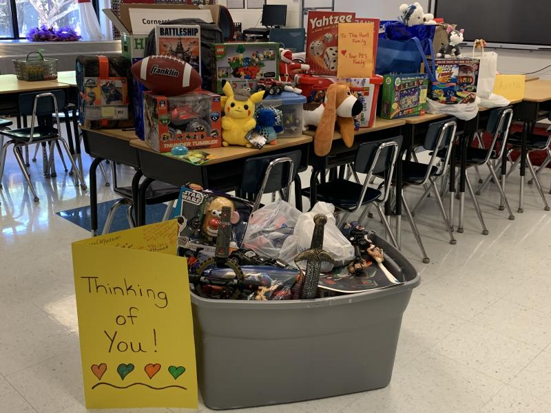 Toys donated by third-grade students at Philadelphia Elementary School to a peer who lost everything in a house fire. (Photo: Philadelphia Elementary School, Kristen Hunt Wilburn)