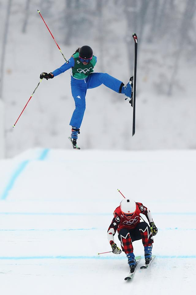<p>Debora Pixner of Italy crashes with Brittany Phelan of Canada during the Freestyle Skiing Ladies' Ski Cross 1/8 Finals on day 14 of the PyeongChang 2018 Winter Olympic Games at Phoenix Snow Park on February 23, 2018 in PyeongChang, South Korea.<br /> (Photo by Ryan Pierse/Getty Images) </p>