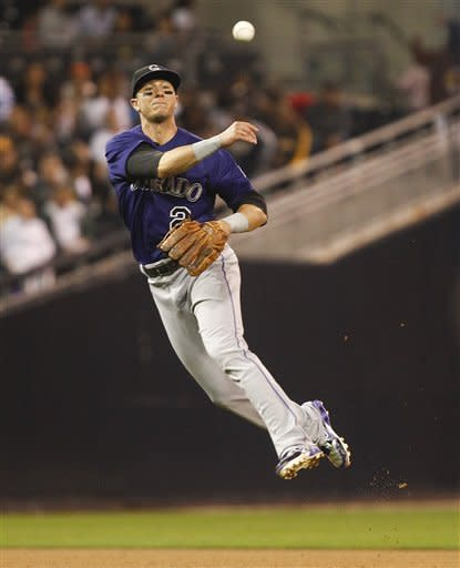 Colorado Rockies shortstop Troy Tulowitzki makes the running, off balance throw after fielding a slow roller hit by San Diego Padres' Cameron Maybin during the fourth inning of a baseball game Monday, May 7, 2012 in San Diego. Maybin was out at first. (AP Photo/Lenny Ignelzi)