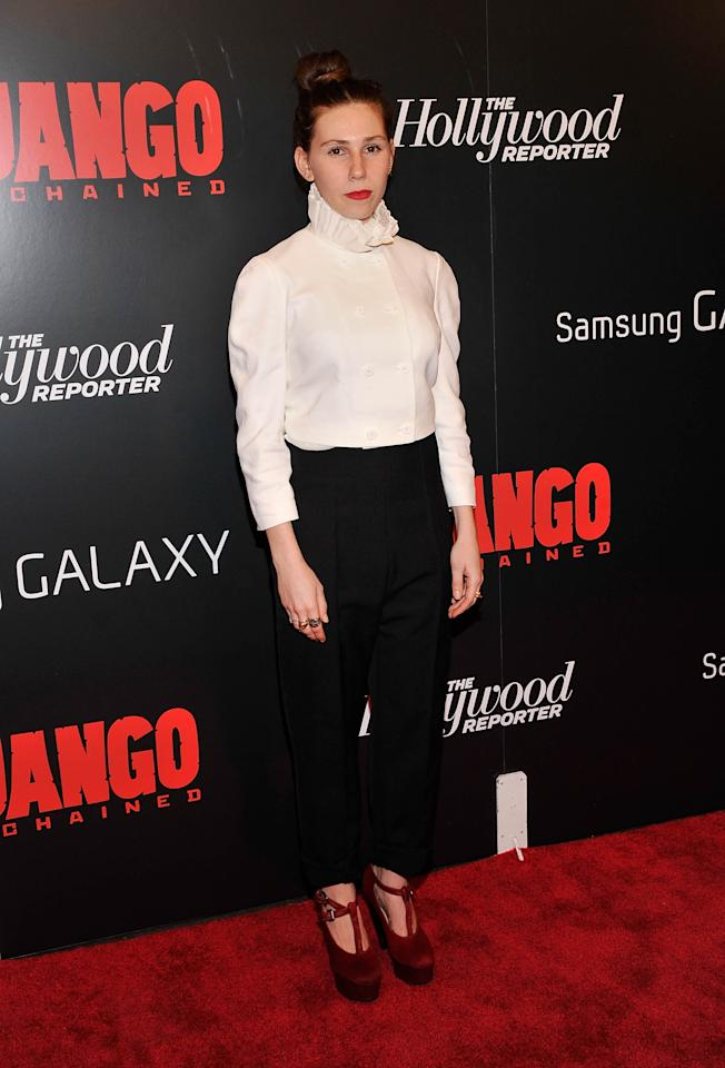 "NEW YORK, NY - DECEMBER 11:  Zosia Mamet attends a screening of ""Django Unchained"" hosted by The Weinstein Company with The Hollywood Reporter, Samsung Galaxy and The Cinema Society at Ziegfeld Theater on December 11, 2012 in New York City.  (Photo by Stephen Lovekin/Getty Images)"