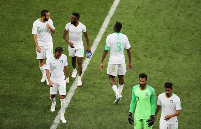 Soccer Football - World Cup - Group A - Uruguay vs Saudi Arabia - Rostov Arena, Rostov-on-Don, Russia - June 20, 2018 Saudi Arabia players look dejected after the match REUTERS/Marcos Brindicci
