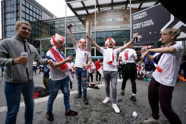 England fans outside Wembley Stadium ahead of the UEFA Euro 2020 semi-final match between England and Denmark