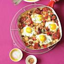 """<p>Switch it up at dinnertime by serving breakfast! Appetites will be sizzling with this flavor-packed Potato, Pepper and Chorizo Hash with Fried Eggs recipe. The easiest way to get <a href=""""https://www.myrecipes.com/egg-recipes"""" rel=""""nofollow noopener"""" target=""""_blank"""" data-ylk=""""slk:the eggs"""" class=""""link rapid-noclick-resp"""">the eggs</a> into the skillet in one piece? Break them one at a time into a small teacup, then tilt the cup to gently slip them on top of the hash.</p>"""