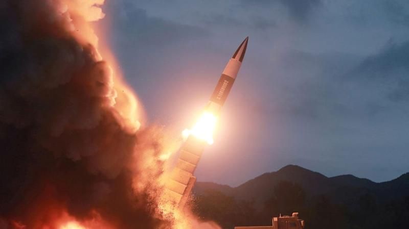 North Korea test fires a new weapon in a photo released by KCNA on Aug. 11, 2019.