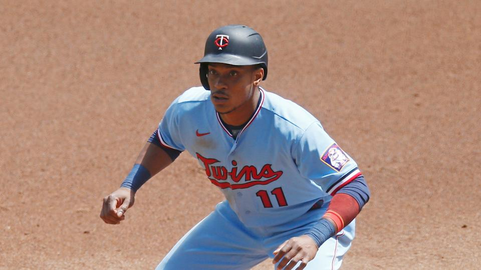 Minnesota Twins' Jorge Polanco takes a lead at first base against the Cleveland Indians in a baseball game Sunday, Aug. 2, 2020, in Minneapolis. (AP Photo/Jim Mone)