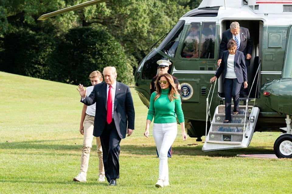 <p>Amalija and Viktor, pictured here, disembark Marine One with President Trump, Melania, and Barron at the White House. </p>