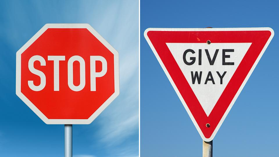 A stop sign and a give way sign