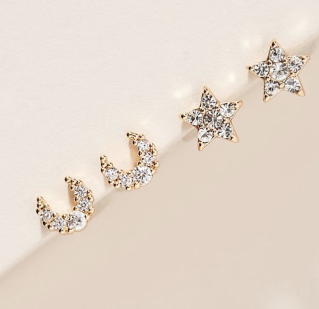 Pairs of earrings are so last century. Give this foursome for creative combining. (Photo: Anthropologie)