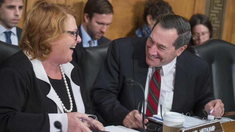 Sens. Heidi Heitkamp (D-N.D.) and Joe Donnelly (D-Ind.) are in tight re-election races this year. The Trump administrationbacked a lawsuit this week challenging the constitutionality of a popular Obamacare provision, putting Republicans on the defensive before the midterms.