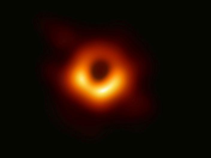 This image released Wednesday, April 10, 2019, by Event Horizon Telescope shows a black hole. Scientists revealed the first image ever made of a black hole after assembling data gathered by a network of radio telescopes around the world. (Event Horizon Telescope Collaboration/Maunakea Observatories via AP)