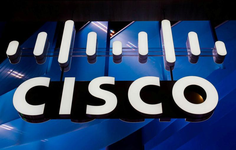 FILE PHOTO: A logo of Cisco is seen during the Mobile World Congress in Barcelona