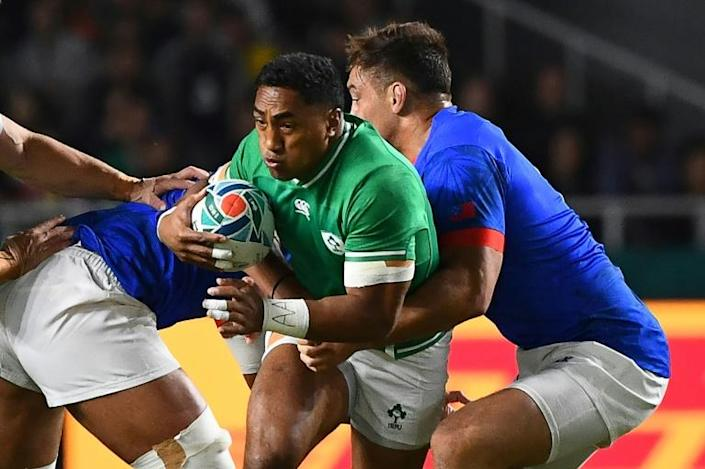 Ireland centre Bundee Aki was sent off for a high tackle (AFP Photo/GABRIEL BOUYS )