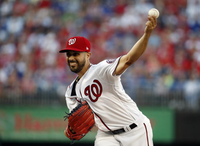 Washington Nationals starting pitcher Gio Gonzalez throws during the first inning of Game 2 of baseball's National League Division Series against the Chicago Cubs, at Nationals Park, Saturday, Oct. 7, 2017, in Washington. (AP Photo/Alex Brandon)