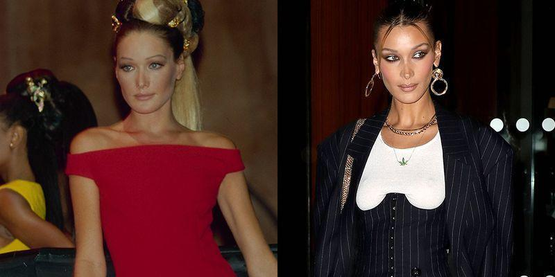 <p>It isn't just her success on the catwalk that has the fashion world buzzing that Bella Hadid is the next Carla Bruni—her high cheekbones make her a dead ringer for Bruni back in the '90s, too.</p>