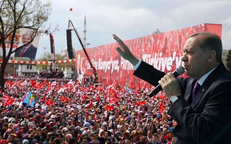 Mr Erdoğan won the referendum but more narrowly than expected - AFP