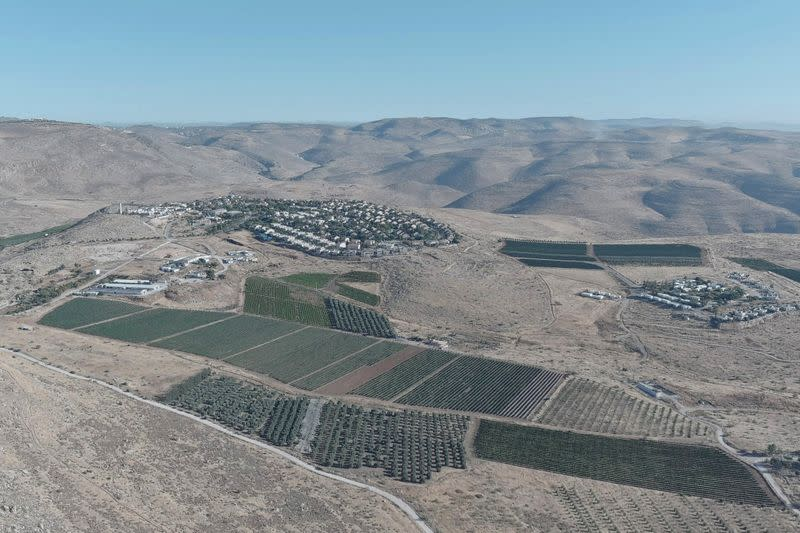 An aerial view shows the Jewish settlement of Kochav Hashachar in the Israeli-occupied West Bank