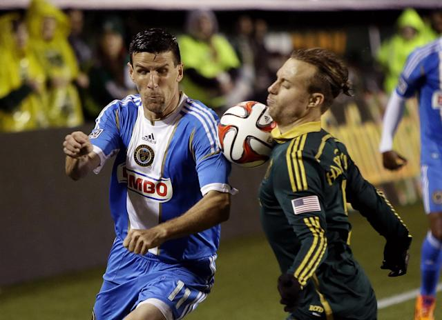Philadelphia Union forward Sebastien Le Toux, left, and Portland Timbers defender Michael Harrington battle for the ball during the first half of an MLS soccer game in Portland, Ore., Saturday, March 8, 2014. (AP Photo/Don Ryan)