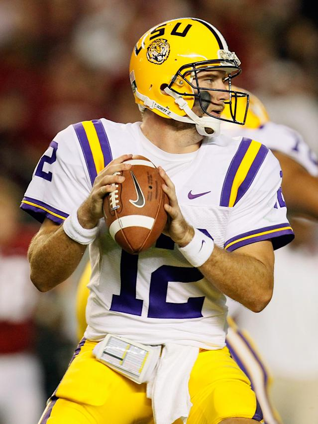 TUSCALOOSA, AL - NOVEMBER 05: Jarrett Lee #12 of the LSU Tigers drops back to pass against the Alabama Crimson Tide during the first half of the game at Bryant-Denny Stadium on November 5, 2011 in Tuscaloosa, Alabama. (Photo by Kevin C. Cox/Getty Images)