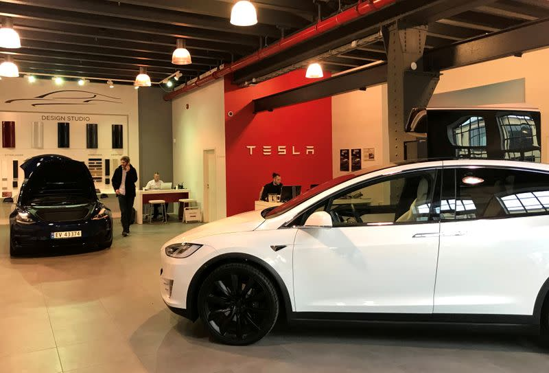 FILE PHOTO: Tesla electric cars are seen in the dealer's showroom in Oslo