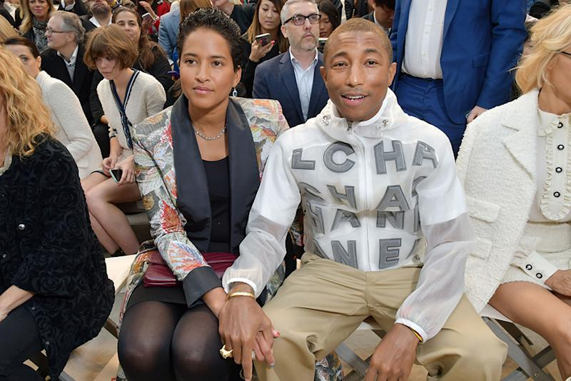 b607d2e1e85e4 Pharrell Williams Cozies Up to Helen Lasichanh on the Front Row at Chanel