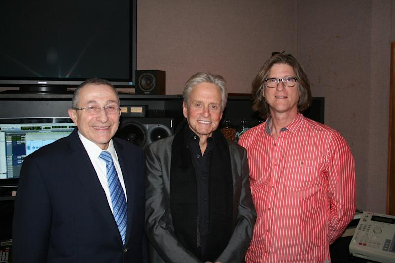 """This March 20, 2013 photo released by Moriah Films shows, from left, Rabbi Marvin Hier, actor Michael Douglas, and Moriah Films director Richard Trank, at a recording studio in New York. The Wiesenthal Center's Oscar-winning film division, issues its 13th historical movie, """"The Prime Ministers,"""" on Nov. 6, 2013. Douglas is the voice of Yitzhak Rabin in the documentary. (AP Photo/Moriah Films)"""