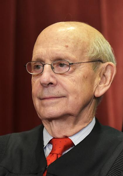 Stephen Breyer, pictured November 2018, joined his colleague Ruth Bader Ginsburg on the panel of judges for the mock trial (AFP Photo/MANDEL NGAN)