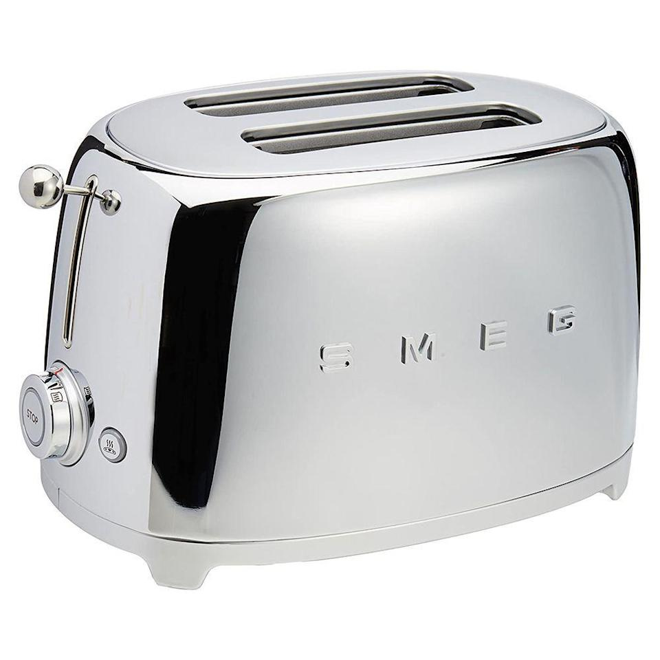 """<p><strong>SMEG</strong></p><p>amazon.com</p><p><strong>$159.95</strong></p><p><a href=""""https://www.amazon.com/dp/B010ED6D30?tag=syn-yahoo-20&ascsubtag=%5Bartid%7C10055.g.4921%5Bsrc%7Cyahoo-us"""" rel=""""nofollow noopener"""" target=""""_blank"""" data-ylk=""""slk:Shop Now"""" class=""""link rapid-noclick-resp"""">Shop Now</a></p><p>If good looks take all in your kitchen, the SMEG 2-Slice Toaster is worth the price. With its <strong>bright, glossy finish (that comes in nine colors!)</strong> and its '50s aesthetic, this sturdy toaster is a beauty that takes up minimal counter space. When you select a setting, it locks into place so you know you've set it precisely. Also available in <a href=""""https://www.amazon.com/dp/B07HGFJDYH/ref=twister_B07HGDTYV2?_encoding=UTF8&th=1&tag=syn-yahoo-20&ascsubtag=%5Bartid%7C10055.g.4921%5Bsrc%7Cyahoo-us"""" rel=""""nofollow noopener"""" target=""""_blank"""" data-ylk=""""slk:4-slice size."""" class=""""link rapid-noclick-resp"""">4-slice size.</a></p>"""