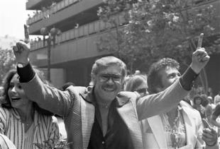 Buss' first championship parade came after the Lakers won the 1980 title. (AP)