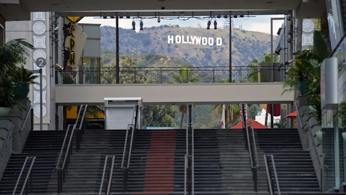 Images from Los Angeles show some of the city's busiest spots left completely empty