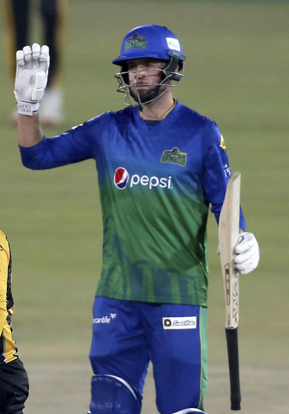 Multan Sultans' James Vince celebrates after scoring fifty during a Pakistan Super League T20 cricket match between Multan Sultans and Peshawar Zalmi at the National Stadium, in Karachi, Pakistan, Tuesday, Feb. 23, 2021. (AP Photo/Fareed Khan),