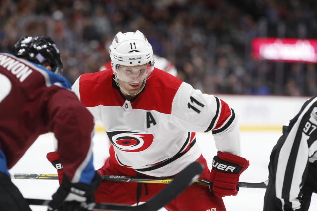 "Center <a class=""link rapid-noclick-resp"" href=""/nhl/players/3980/"" data-ylk=""slk:Jordan Staal"">Jordan Staal</a> has settled into a promising line with the <a class=""link rapid-noclick-resp"" href=""/nhl/teams/car/"" data-ylk=""slk:Carolina Hurricanes"">Carolina Hurricanes</a>. (AP Photo/David Zalubowski)"