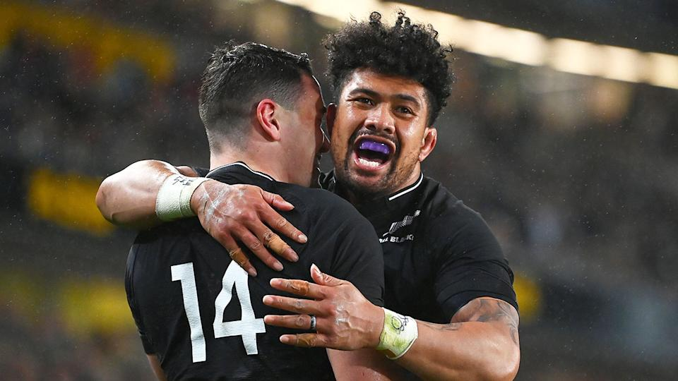 Pictured here, New Zealand star Ardie Savea celebrates a try against the Walllabies.