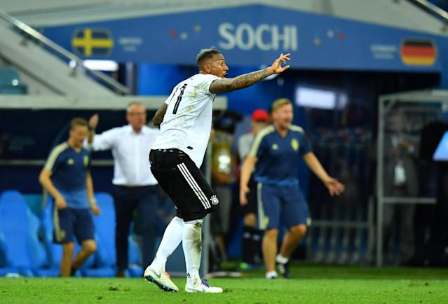 Soccer Football - World Cup - Group F - Germany vs Sweden - Fisht Stadium, Sochi, Russia - June 23, 2018 Germany's Jerome Boateng reacts after fouling Sweden's Marcus Berg (not pictured) leading to a second yellow card and a red card REUTERS/Dylan Martinez
