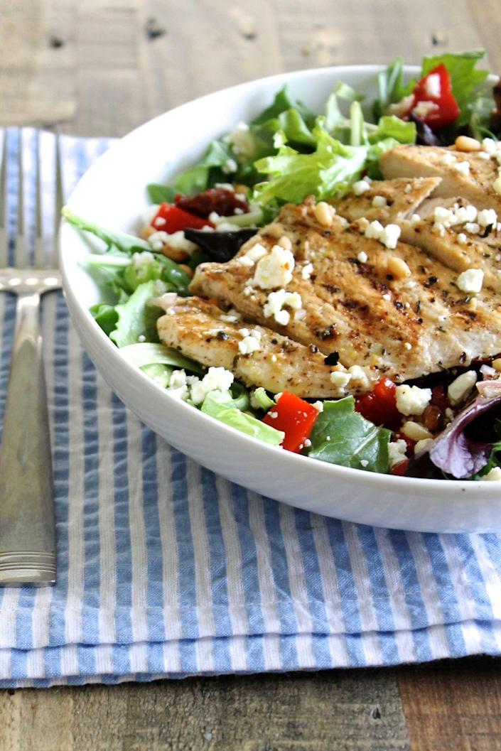 "<p>Not into chicken? Replace it with grilled tofu, salmon, or even a handful of your favorite beans.</p><p><strong>Get the recipe on <a href=""http://littlechefbigappetite.com/fresh-spring-salad-lemon-vinaigrette-recipe/"" rel=""nofollow noopener"" target=""_blank"" data-ylk=""slk:Little Chef Big Appetite"" class=""link rapid-noclick-resp"">Little Chef Big Appetite</a>. </strong></p>"