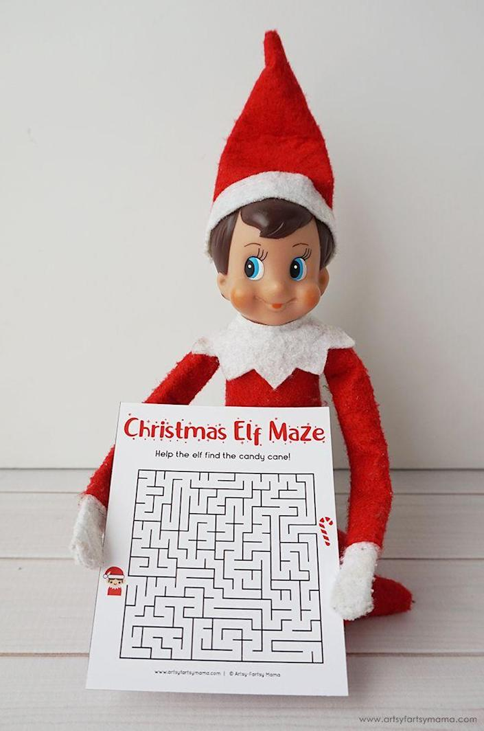 """<p>Have your Elf start to work through this maze, but leave it mostly unfinished. Your kids can help him get all the way to the end.</p><p><strong>Get the tutorial at <a href=""""https://www.artsyfartsymama.com/2019/11/free-printable-elf-on-shelf-activity.html"""" rel=""""nofollow noopener"""" target=""""_blank"""" data-ylk=""""slk:Artsy Fartsy Mama"""" class=""""link rapid-noclick-resp"""">Artsy Fartsy Mama</a>.</strong></p><p><strong><a class=""""link rapid-noclick-resp"""" href=""""https://www.amazon.com/Elf-Shelf-Boy-Light/dp/B07TJJTBW8/?tag=syn-yahoo-20&ascsubtag=%5Bartid%7C2164.g.34080491%5Bsrc%7Cyahoo-us"""" rel=""""nofollow noopener"""" target=""""_blank"""" data-ylk=""""slk:SHOP ELF ON THE SHELF"""">SHOP ELF ON THE SHELF</a><br></strong></p>"""