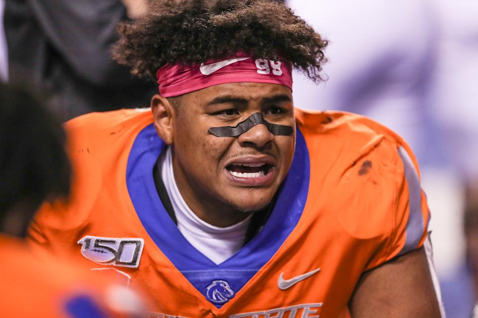Boise State EDGE Curtis Weaver's college production was tremendous. (Photo by Loren Orr/Getty Images)
