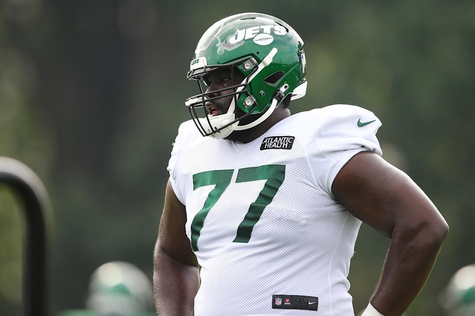 Mekhi Becton could make a big difference for the New York Jets up front. (Photo by Mike Stobe/Getty Images)