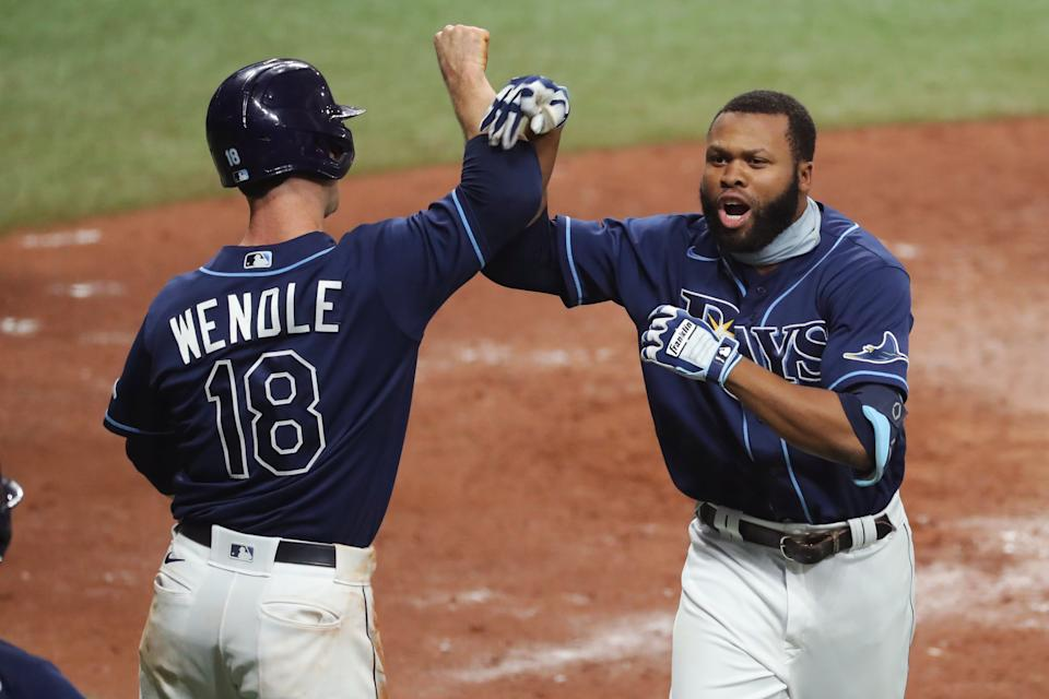 Manuel Margot of the Tampa Bay Rays celebrates his home run in Game 1 of the AL Wild Card Series. (Photo by Mike Carlson/MLB Photos via Getty Images)