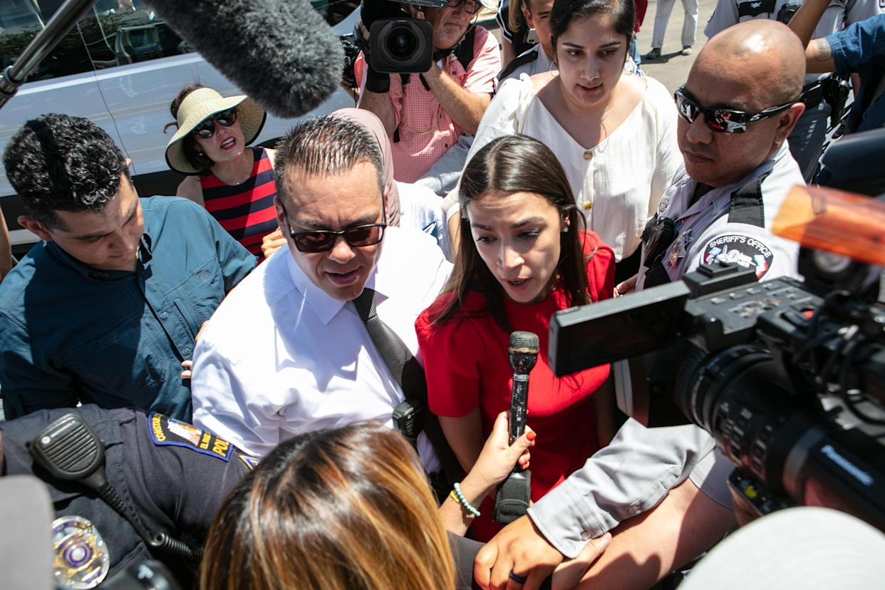 Rep. Alexandria Ocasio-Cortez at the Clint, Texas, Border Patrol facility. (Photo: Christ Chavez/Getty Images)