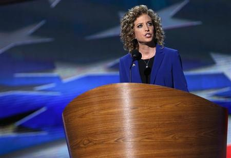 U.S. Rep. Wasserman Schultz addresses delegates during the final session of the Democratic National Convention in Charlotte