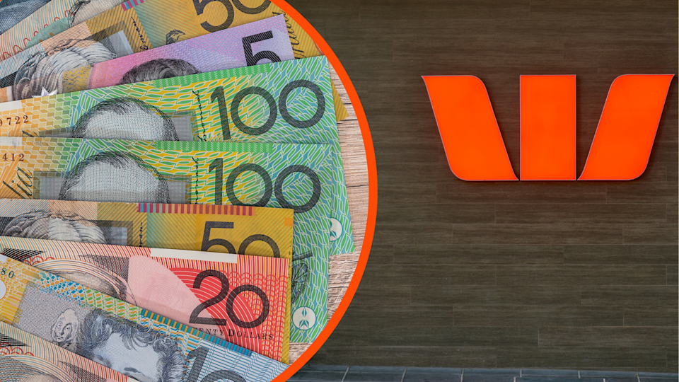 Australian currency fanned out and the Westpac symbol