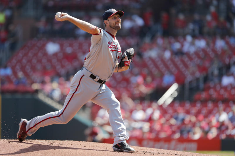 Washington Nationals starting pitcher Max Scherzer throws during the first inning of a baseball game against the St. Louis Cardinals Wednesday, Sept. 18, 2019, in St. Louis. (AP Photo/Jeff Roberson)