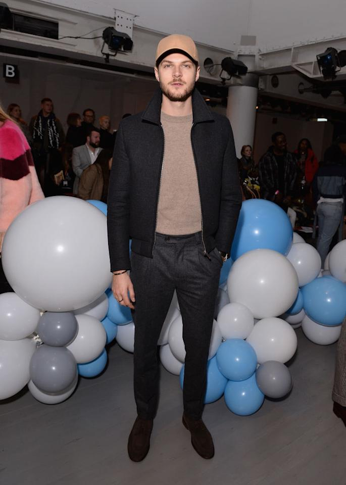 <p>Serial Instagrammer Jim Chapman attended the third What We Wear show on January 6th in a tailored bomber teamed with charcoal-hued trousers. <em>[Photo: Getty]</em> </p>