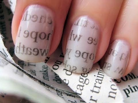 """One way to decorate your nails is with the words of magazines you have sitting around.  Photo: Pinterest/<a rel=""""nofollow"""" href=""""http://www.pinterest.com/buzzfeed/"""">Buzzfeed</a>"""