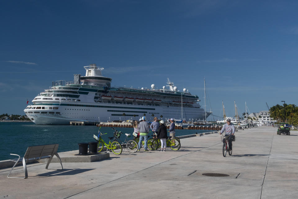 KEY WEST, FLORIDA - JANUARY 17:  A cruise ship is seen from the newly opened Truman Waterfront Park on January 17, 2019 in Key West, Florida. As a low-lying island, Key West, Fla. is on the frontlines of sea level rise, which might increase the already steep cost of living in the city. (Photo by Alfredo Sosa/The Christian Science Monitor via Getty Images)