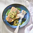 <p>Barramundi (aka Asian sea bass) is a mild white fish with a flaky texture and a respectable amount of omega-3s (830 mg per serving compared to 280 mg for cod and 180 mg for mahi-mahi). Most farmed barramundi is rated a Best Choice by Seafood Watch. Coating fish with a little cornstarch, as we do here, before searing it in a hot pan ensures you'll get a crispy exterior. Serve with roasted potatoes.</p>